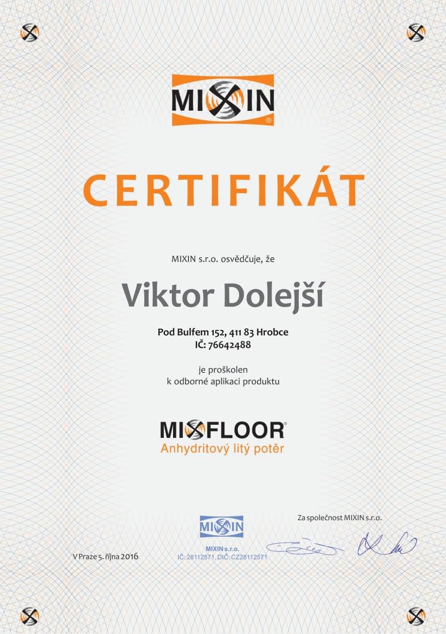 MIXFLOOR certifikát
